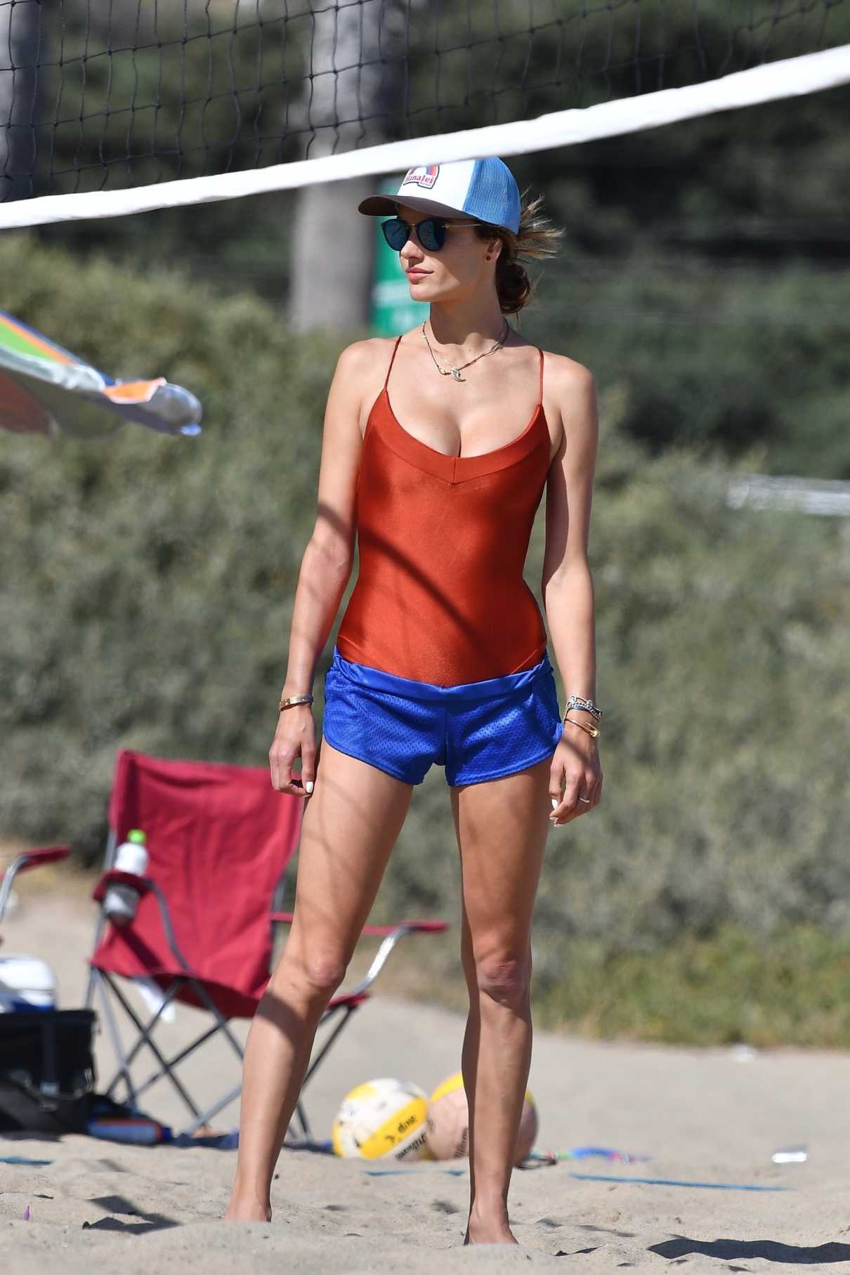 Alessandra Ambrosio in a Red Swimsuit