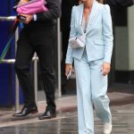 Amanda Holden in a Light Blue Pantsuit