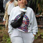 Anne Marie in a Gray Sweatsuit