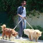 Aubrey Plaza in a White Sneakers Walks Her Dogs in Los Angeles 06/13/2020