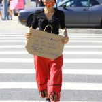 Bai Ling in a Red Pants Shows Her Support to the Black Lives Matter Protest in Studio City 06/03/2020