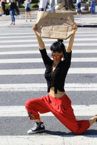 Bai Ling in a Red Pants
