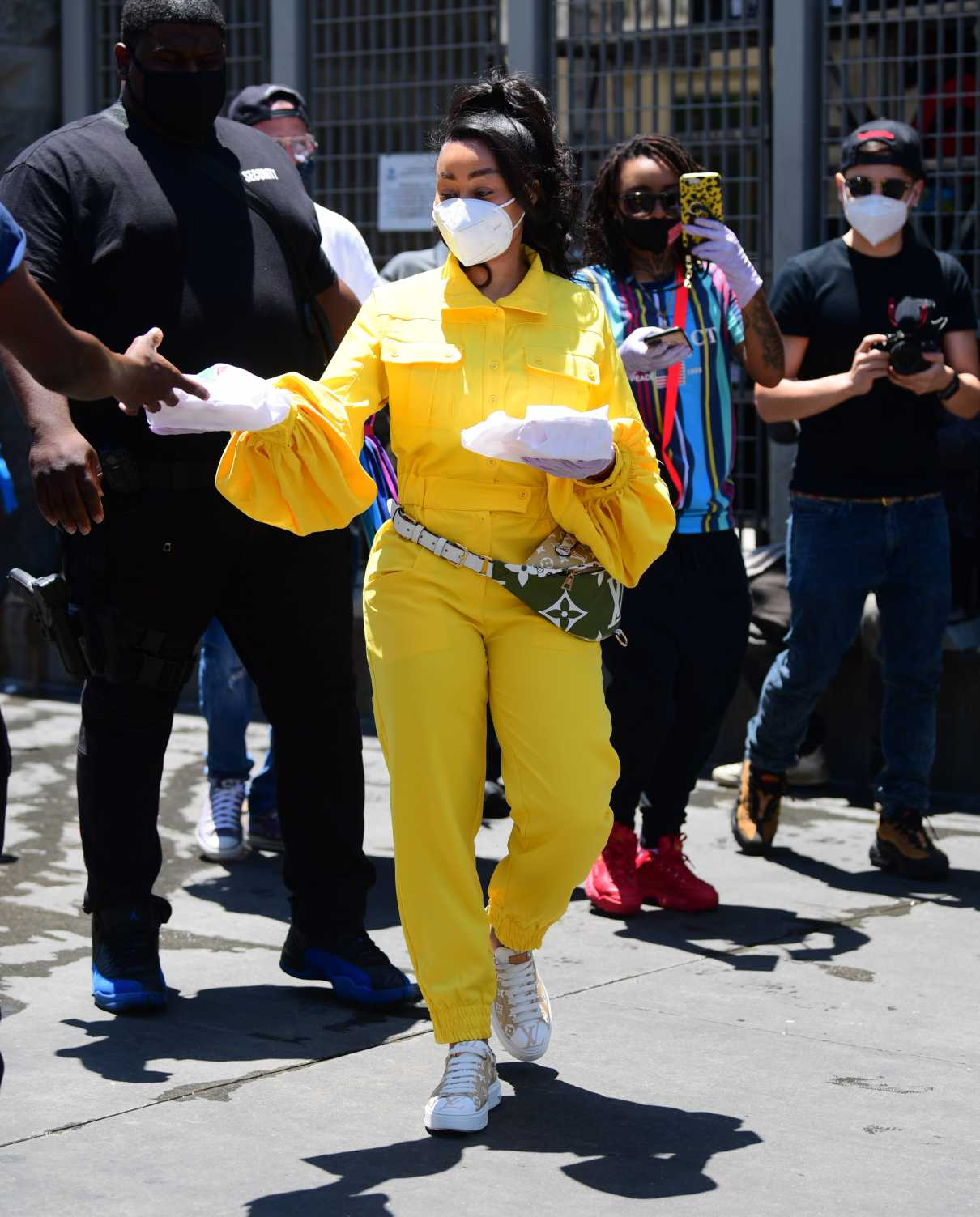 Blac Chyna in a Yellow Jumpsuit