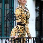 Blanca Blanco in a Yellow Dress