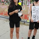 Cara Santana in a Black Hoody Attends the Black Lives Matter Protest in Los Angeles 06/05/2020