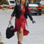 Charlotte Hawkins in a Red Polka Dot Dress