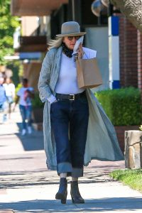 Diane Keaton in a Gray Striped Trench Coat