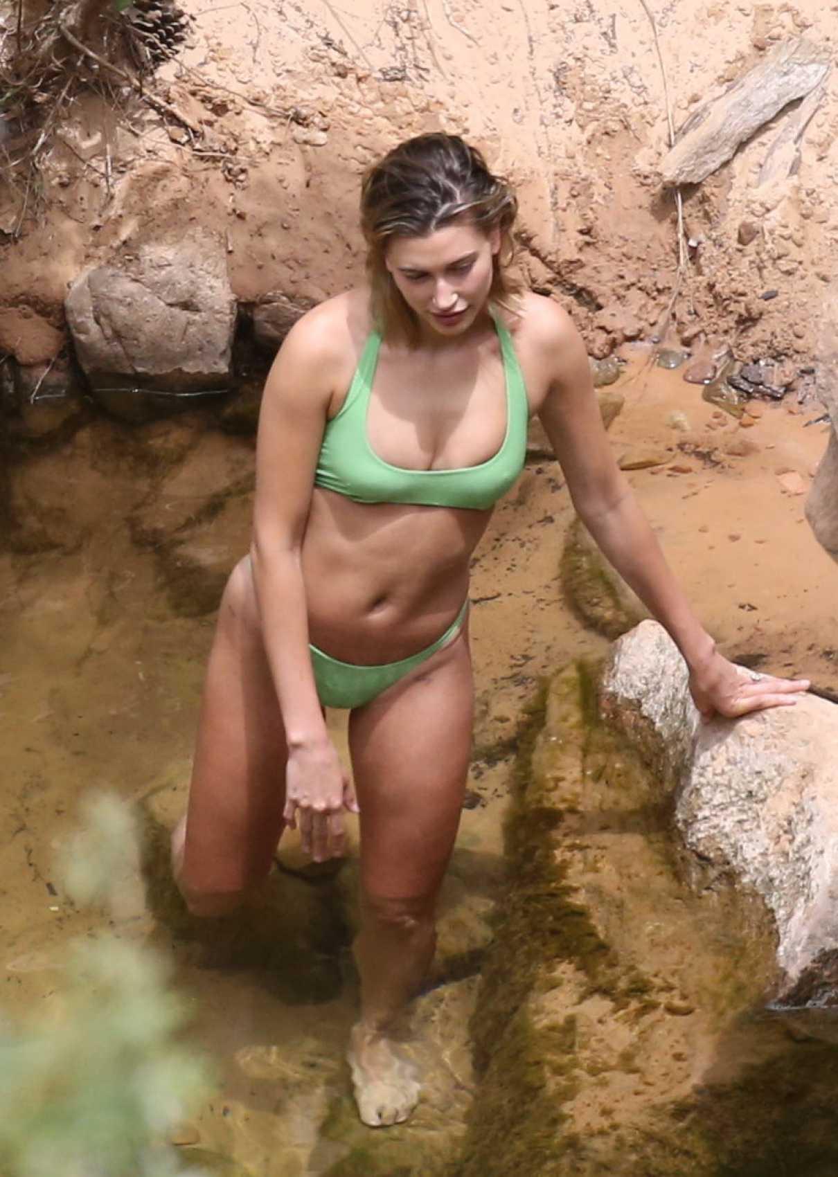 Hailey Bieber in a Green Bikini