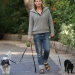 Helen Hunt in a Black Flip-Flops Walks Her Dogs in Pacific Palisades 06/28/2020