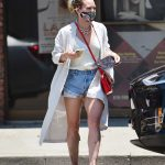 Hilary Duff in a White Trench Coat