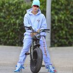 Justin Bieber in a Gray Sweatsuit