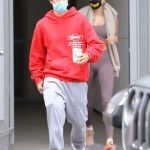 Justin Bieber in a Red Hoody