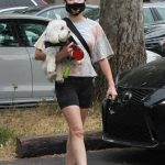Lucy Hale in a Black Spandex Shorts