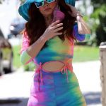 Phoebe Price in a Colorful Workout Clothes