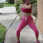 Phoebe Price in a Pink Workout Clothes