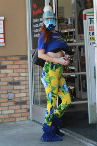 Phoebe Price in a Yellow Floral Print Leggings