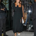Sara Sampaio in a Black Dress Leaves the Catch Restaurant in West Hollywood 06/13/2020