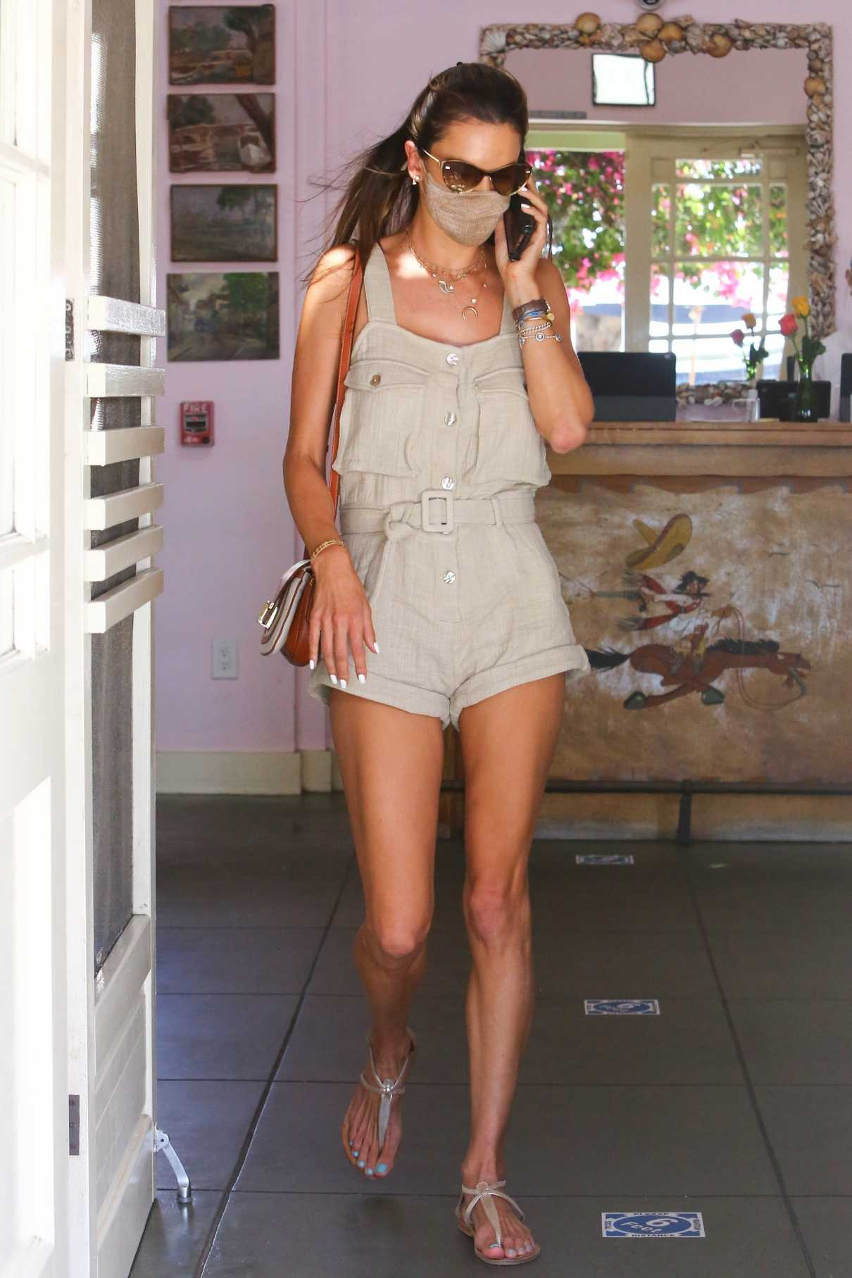 Alessandra Ambrosio in a Beige Shorts Jumpsuit