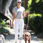 Alessandra Ambrosio in a White Sweatpants