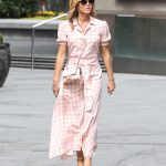 Amanda Holden in a Pink Checked Dress