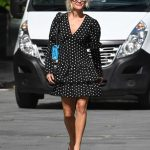 Ashley Roberts in a Black Polka Dot Dress Exits the Heart Radio in London 07/10/2020