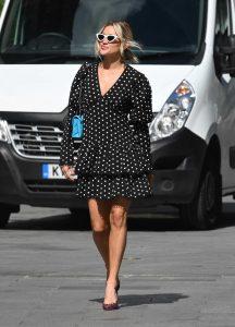 Ashley Roberts in a Black Polka Dot Dress