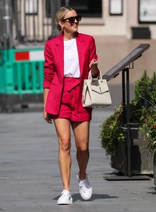 Ashley Roberts in a Pink Shorts Suit