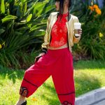 Bai Ling in a Red Floral Top