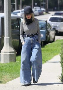 Diane Keaton in a Pair of Blue Bell Bottom Jeans