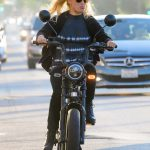 Emma Slater in a Black Boots Goes for a Bike Ride on Ventura Blvd in Los Angeles 07/29/2020