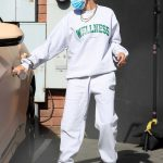 Hailey Bieber in a White Nike Sneakers