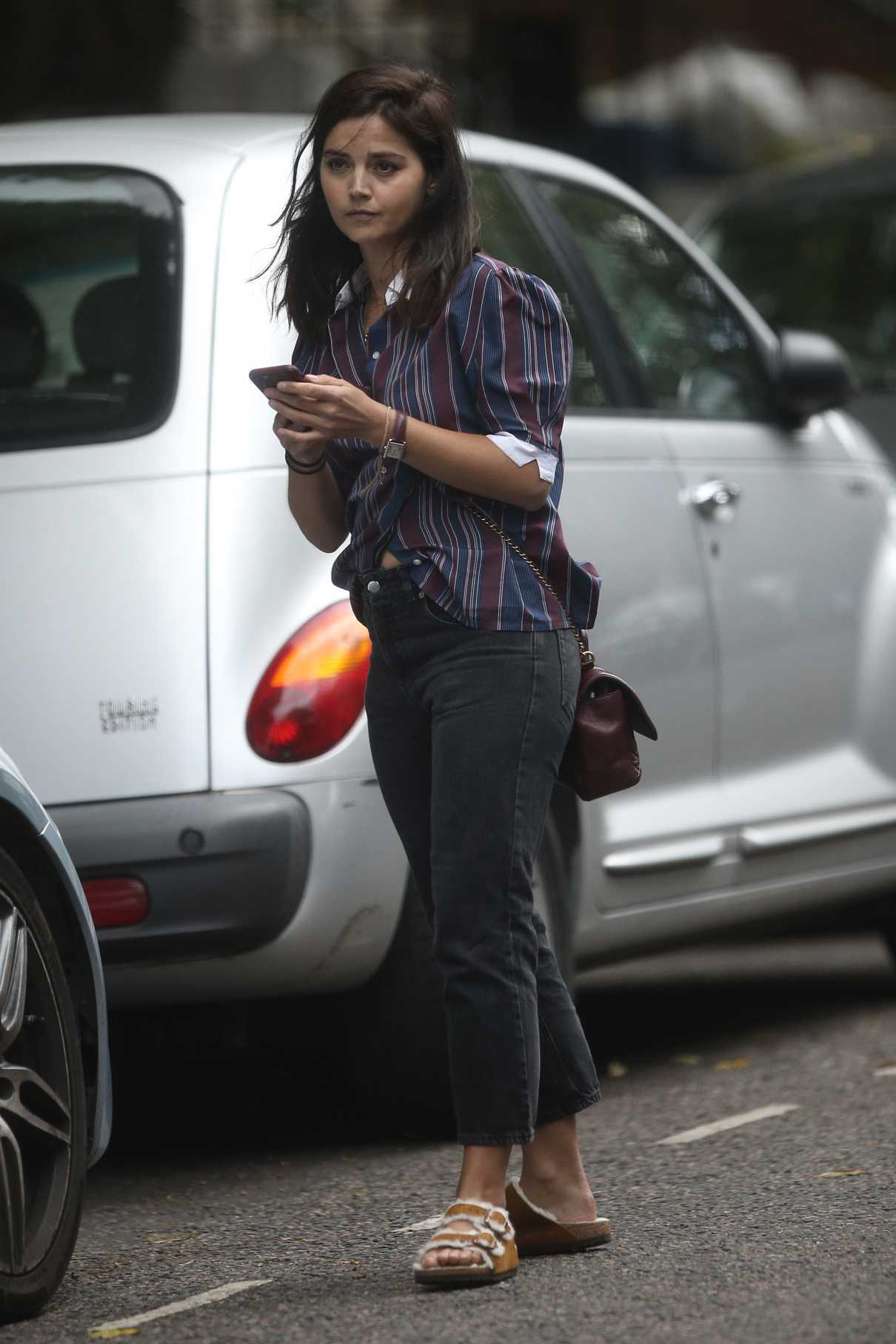 Jenna Coleman in a Striped Shirt