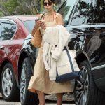 Jordana Brewster in a Beige Dress Was Seen Out in Malibu 07/28/2020