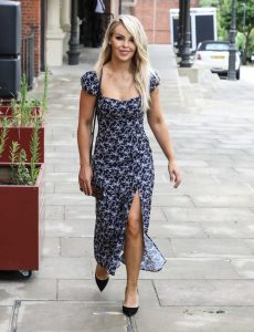 Katie Piper in a Gray Summer Dress