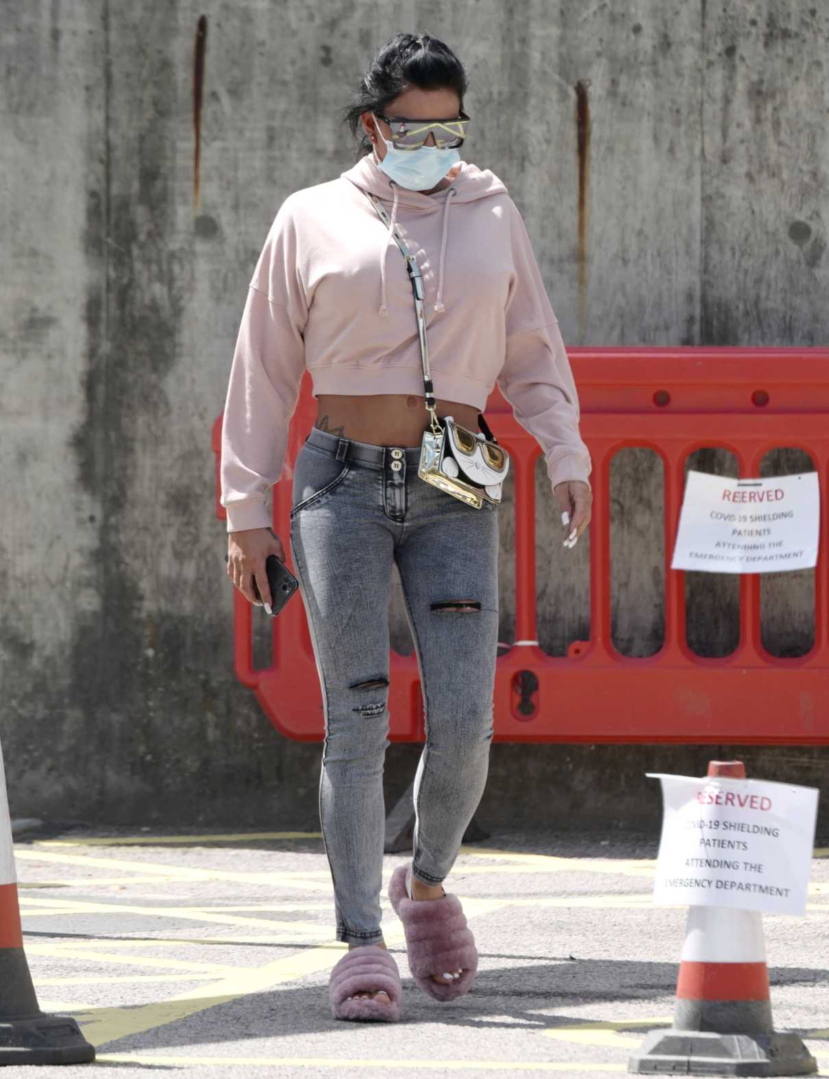 Katie Price in a Protective Mask