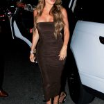 Larsa Pippen in Brown Dress Arrives for Dinner at Il Pastaio Restaurant in Beverly Hills 07/25/2020