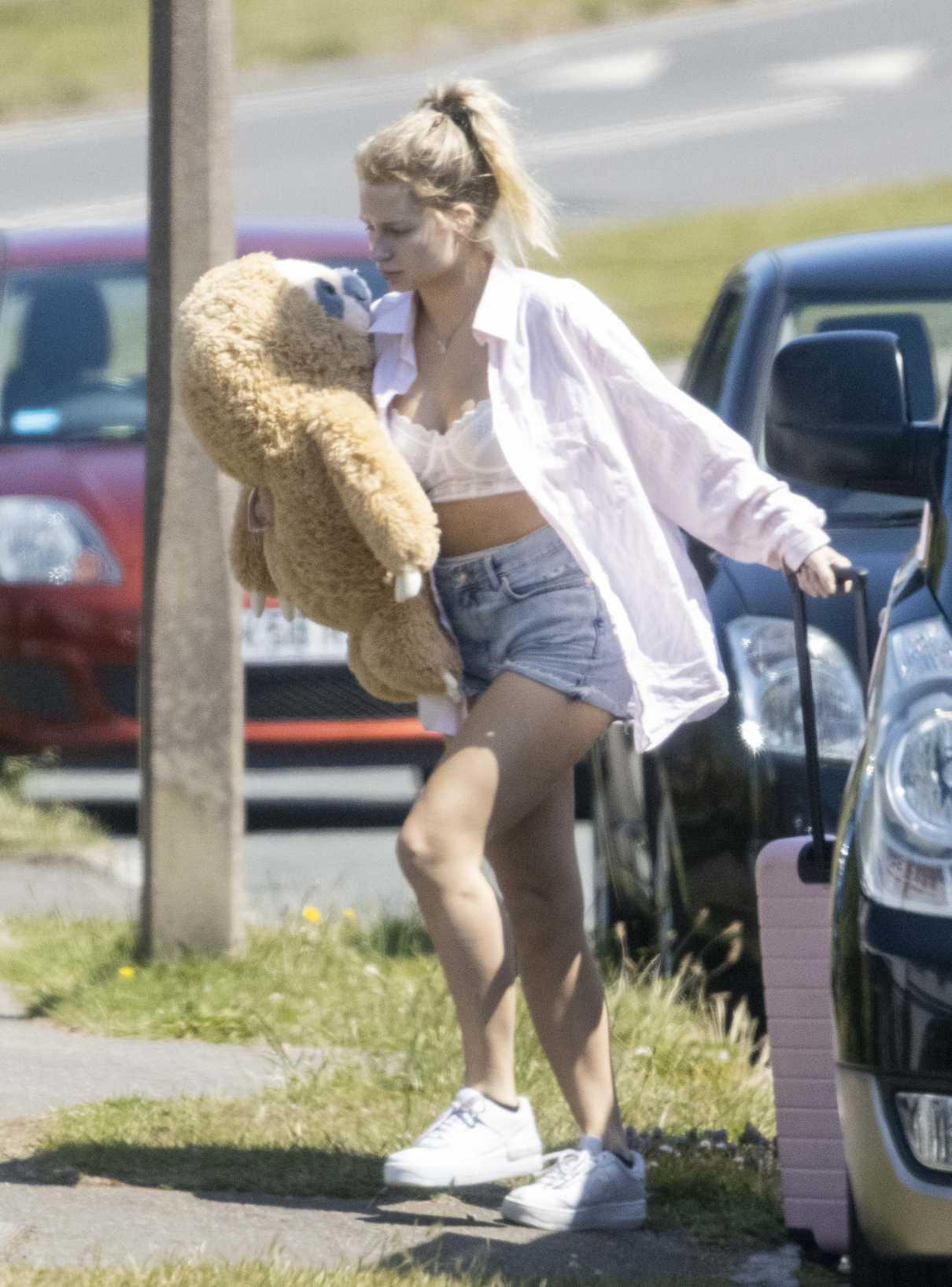 Lottie Moss in a Blue Daisy Duke Shorts