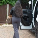 Marnie Simpson in a Black Leather Jacket