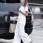 Alessandra Ambrosio in a White Jumpsuit