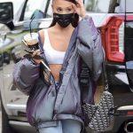 Ariana Grande in a White Sports Bra