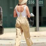 Ashley Tisdale in a Beige Jumpsuit