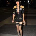 Bai Ling in a Custom Uniform Poses with Fans in Beverly Hills 08/05/2020
