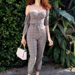 Blanca Blanco in a Gray Jumpsuit