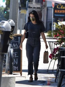 Camila Mendes in a Black Tee