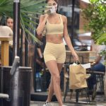 Chantel Jeffries in a Yellow Workout Ensemble Leaves Zinque Restaurant in West Hollywood 08/28/2020