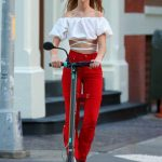 Clare Crawford in a Red Pants