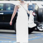 Elle Fanning in a White Dress Goes Shopping in Los Angeles 08/17/2020