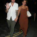 Frankie Bridge in a Brown Dress