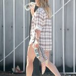 Hilary Duff in a Blue Daisy Duke Shorts