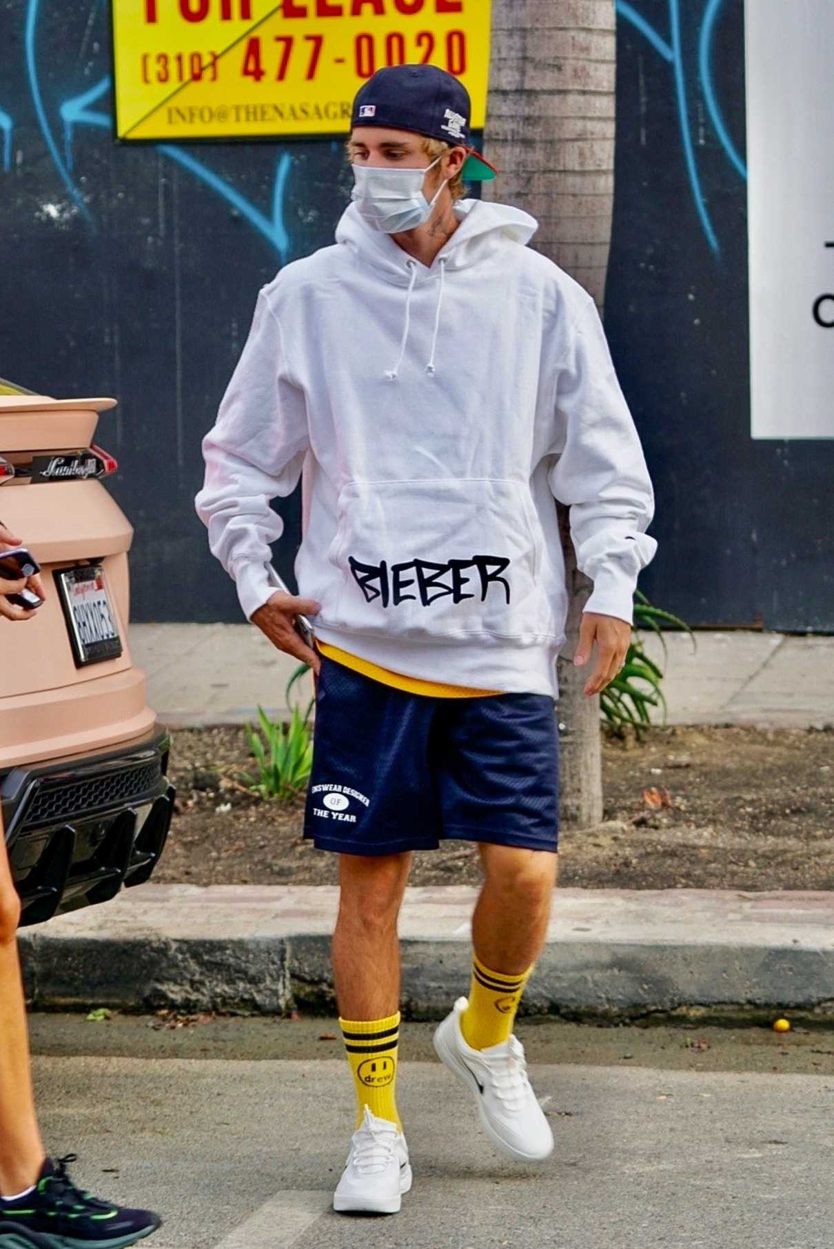 Justin Bieber in a White Hoody